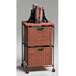 Wicker Filing Cart - 2 Drawer
